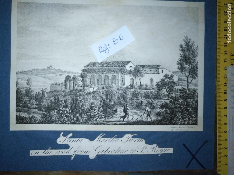 Arte: antiguo grabado original circa 1826 santa martha farm on the road from gibraltar to san roque - Foto 1 - 168754024