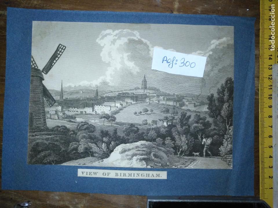 ANTIGUO GRABADO ORIGINAL - BIRMINGHAM, ENGLAND, PANORAMICA CIRCA 1764 (Arte - Pintura - Pintura al Óleo Antigua siglo XVIII)