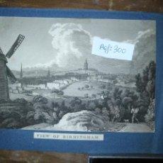 Arte: ANTIGUO GRABADO ORIGINAL - BIRMINGHAM, ENGLAND, PANORAMICA CIRCA 1764. Lote 168755232