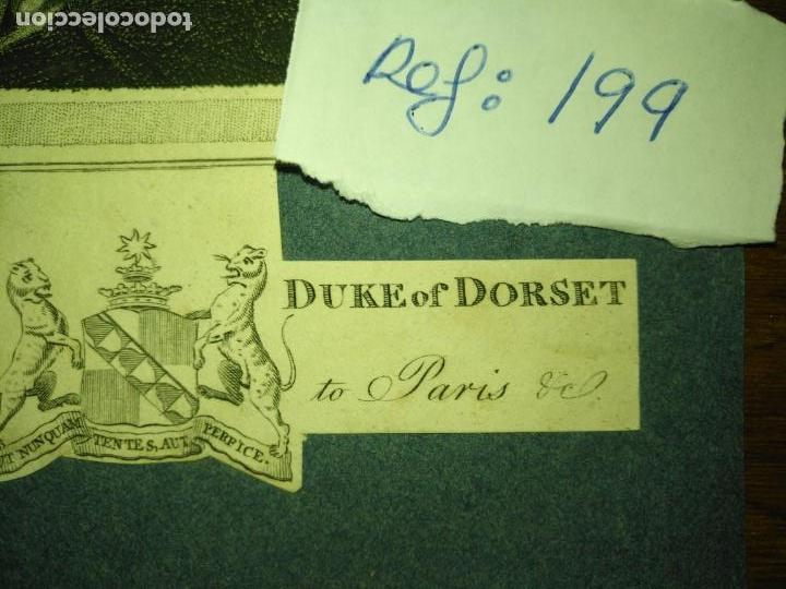Arte: antiguo grabado original - circa 1820 aproxi. his grace the duke of dorset embajador de paris - Foto 4 - 168755548