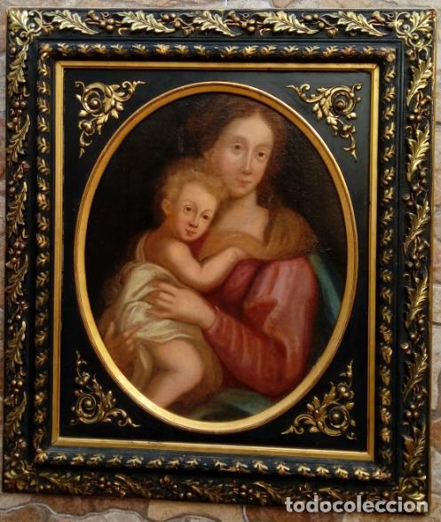 ÓLEO S/LIENZO ADHERIDO A TABLA, CON MARCO DE ÉPOCA. ESC. ITALIANA, FINALES S. XVII. 75.5X65.5 CMS. (Arte - Pintura - Pintura al Óleo Antigua siglo XVII)
