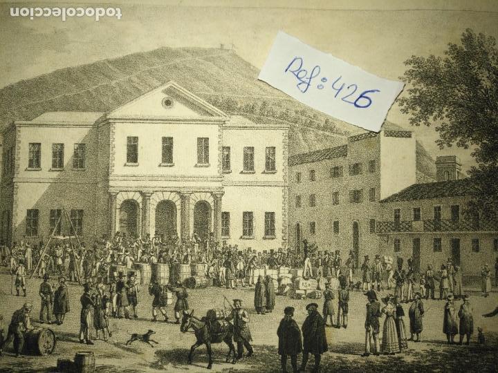 Arte: antiguo grabado original mercado Commercial Auction Square at gibraltar 1826 – Felippo Benucci - Foto 2 - 168755772