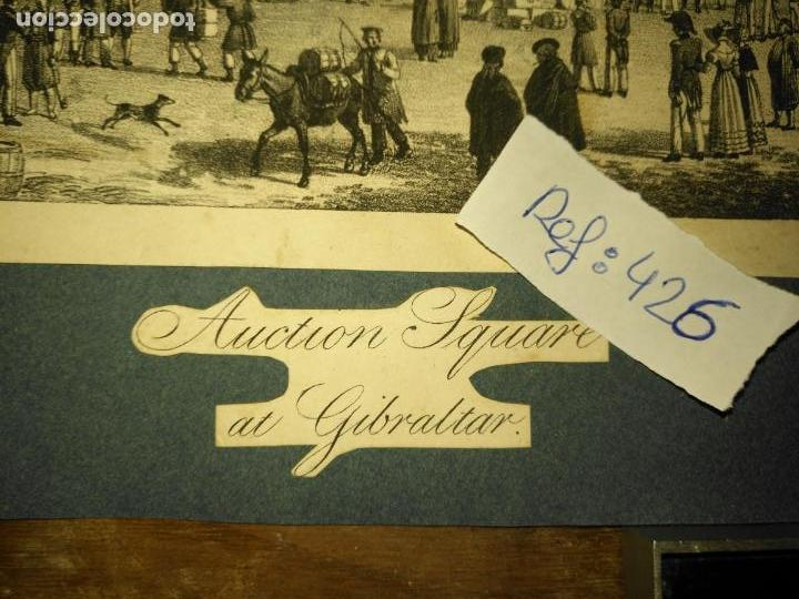 Arte: antiguo grabado original mercado Commercial Auction Square at gibraltar 1826 – Felippo Benucci - Foto 3 - 168755772