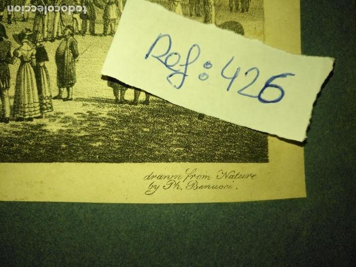Arte: antiguo grabado original mercado Commercial Auction Square at gibraltar 1826 – Felippo Benucci - Foto 4 - 168755772