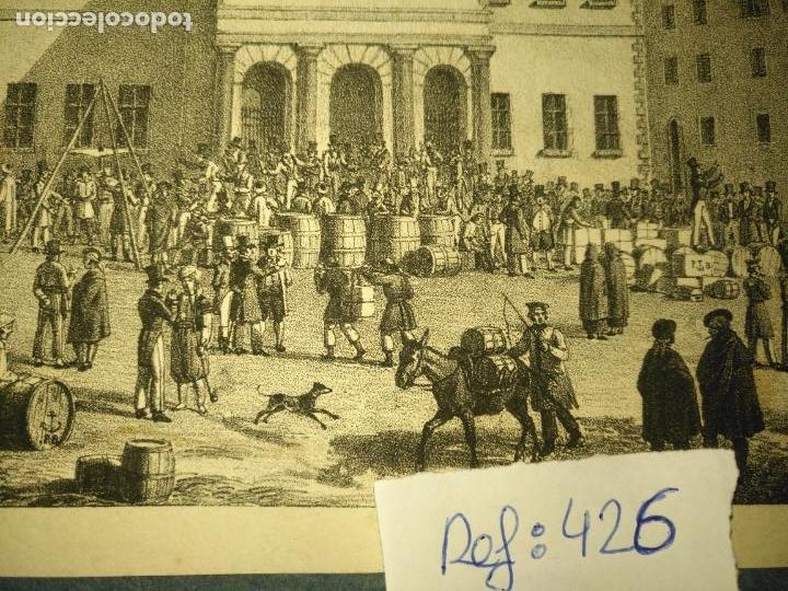 Arte: antiguo grabado original mercado Commercial Auction Square at gibraltar 1826 – Felippo Benucci - Foto 5 - 168755772