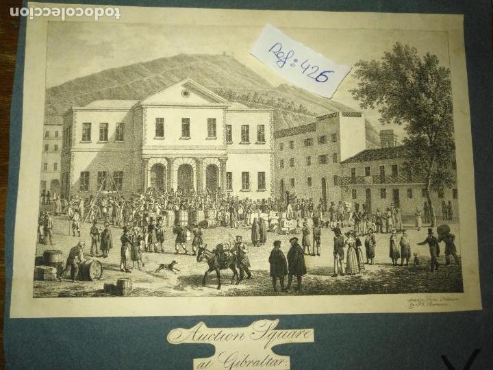 Arte: antiguo grabado original mercado Commercial Auction Square at gibraltar 1826 – Felippo Benucci - Foto 6 - 168755772