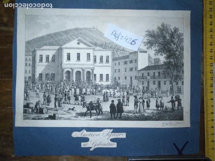 ANTIGUO GRABADO ORIGINAL MERCADO COMMERCIAL AUCTION SQUARE AT GIBRALTAR 1826 – FELIPPO BENUCCI (Arte - Pintura - Pintura al Óleo Antigua siglo XVIII)