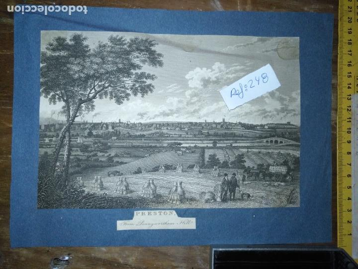 Arte: antiguo grabado original preston from pennyhorsham hill circa 1923/24 apxoimadamente - Foto 1 - 168756124