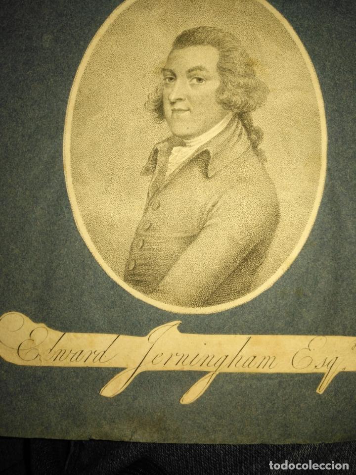 Arte: grabado original -poeta Edward Jerningham, 1727 - 1812. circa 1820 aproximadamente - Foto 4 - 168757912