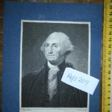 Arte: GRABADO ORIGINAL - GEORGE WASHINGTON FIRT PRESIDENT OF THE UNITED STATES OF AMERICA GRABADO . Lote 168758660