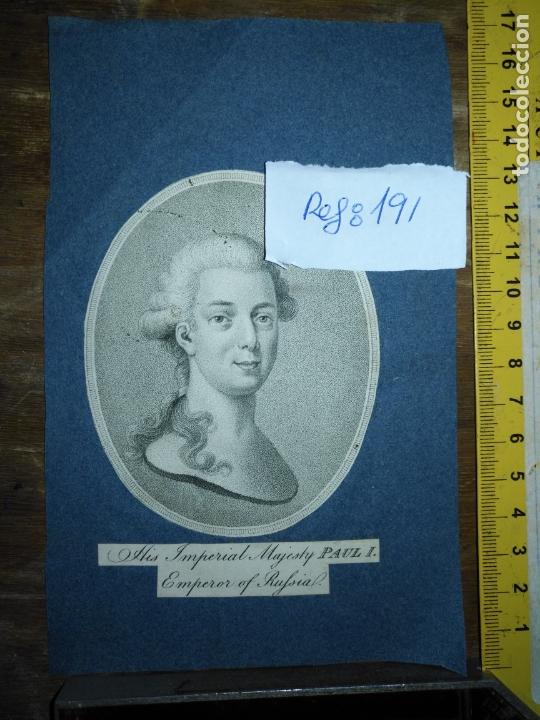 GRABADO ORIGINAL - EMPERADOR DE RUSIA PAUL I . HIS IMPERIAL MAJESTY EMPEROR OF RUFSIAL. CIRCA 1820 (Arte - Pintura - Pintura al Óleo Antigua siglo XVIII)