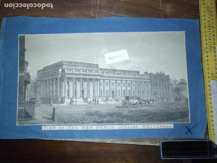 Arte: gran grabado original - VIEW OF THE NEW PUBLIC OFFICES, WHITEHALL 1827 - Foto 2 - 168808536