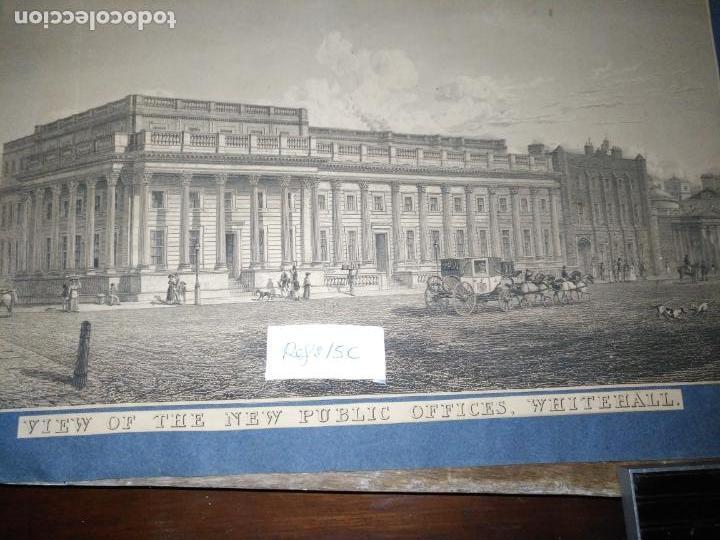 Arte: gran grabado original - VIEW OF THE NEW PUBLIC OFFICES, WHITEHALL 1827 - Foto 10 - 168808536