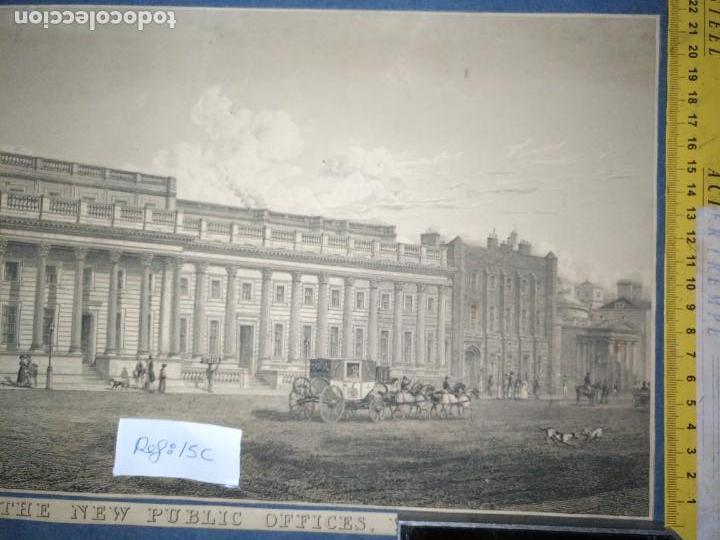 Arte: gran grabado original - VIEW OF THE NEW PUBLIC OFFICES, WHITEHALL 1827 - Foto 11 - 168808536