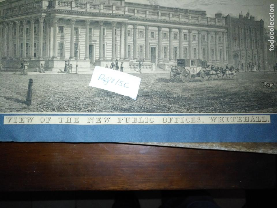 Arte: gran grabado original - VIEW OF THE NEW PUBLIC OFFICES, WHITEHALL 1827 - Foto 13 - 168808536