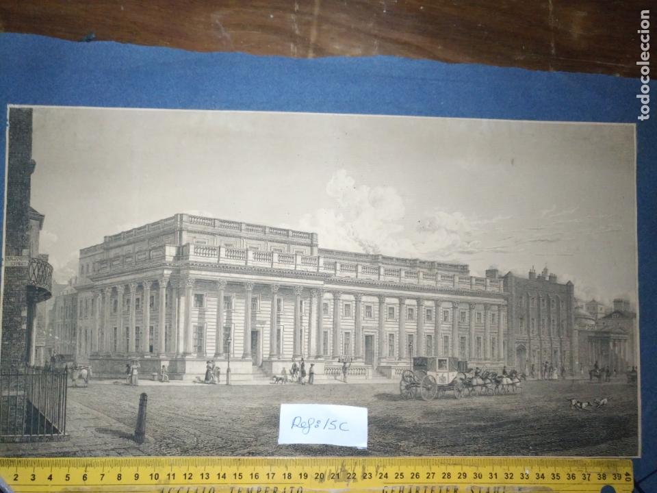 GRAN GRABADO ORIGINAL - VIEW OF THE NEW PUBLIC OFFICES, WHITEHALL 1827 (Arte - Pintura - Pintura al Óleo Antigua siglo XVIII)
