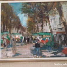 Arte: JOSE LUIS FLORIT, OLEO, PAISAJE DE LA RAMBLA DE LAS FLORES. Lote 168855040