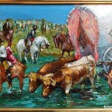 Arte: O/L LA ROMERÍA DEL ROCIO , FIRMADO JOSÉ PUENTE. Lote 168952844