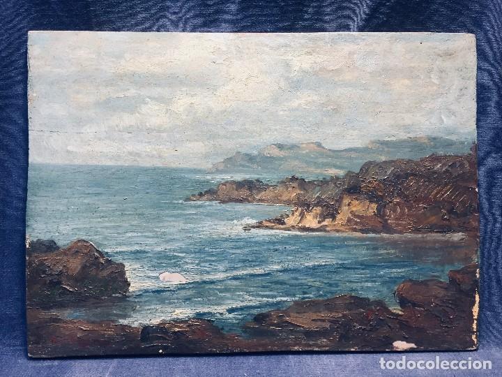 OLEO TABLA VISTA COSTERA FIRMADA PAUL DANGMANN 1899 1974 PPIO S XX 31X43CMS (Arte - Pintura - Pintura al Óleo Moderna sin fecha definida)