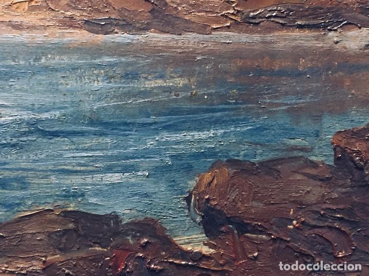 Arte: oleo tabla vista costera FIRMADA paul dangmann 1899 1974 ppio s XX 31X43CMS - Foto 4 - 168987628