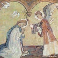 Arte: ÓLEO SOBRE LIENZO VIRGEN CON ÁNGEL FIRMADO B.ZABALETA . Lote 169043548