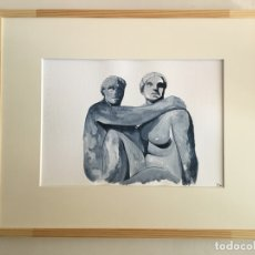 Arte: VIGELAN PARK. OSLO. NORWAY. ACRÍLICO SOBRE PAPEL. 34 CM X 24 CM. Lote 150031710