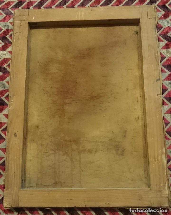 Arte: Antiguo Ecce Homo, óleo sobre lienzo con ángel de la guarda. Siglo XVII. Masónico. 50x37cm - Foto 4 - 169095336