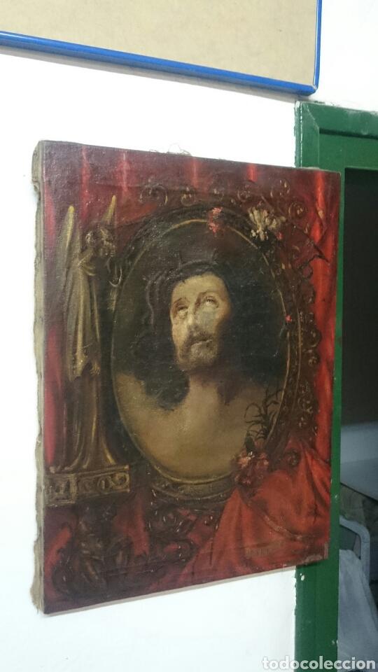 ANTIGUO ECCE HOMO, ÓLEO SOBRE LIENZO CON ÁNGEL DE LA GUARDA. SIGLO XVII. MASÓNICO. 50X37CM (Arte - Pintura - Pintura al Óleo Antigua siglo XVII)