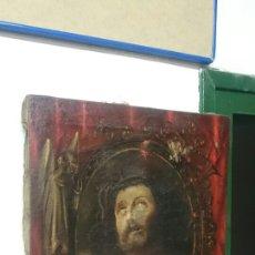 Arte: ANTIGUO ECCE HOMO, ÓLEO SOBRE LIENZO CON ÁNGEL DE LA GUARDA. SIGLO XVII. MASÓNICO. 50X37CM. Lote 169095336