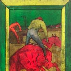 Arte: IMPRESIONANTE PINTURA VINTAGE COLORES VIVOS LLAMATIVA AÑOS 50 SALTO HIPICA CABALLO JINETE S/ MADERA. Lote 169259505