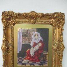 Arte: VILA MONCAU (VIC 1924 - 2013) - ÓLEO SOBRE TABLA, CON PAN DE ORO - FIGURA Y PAISAJE DE OLOT. Lote 169323784