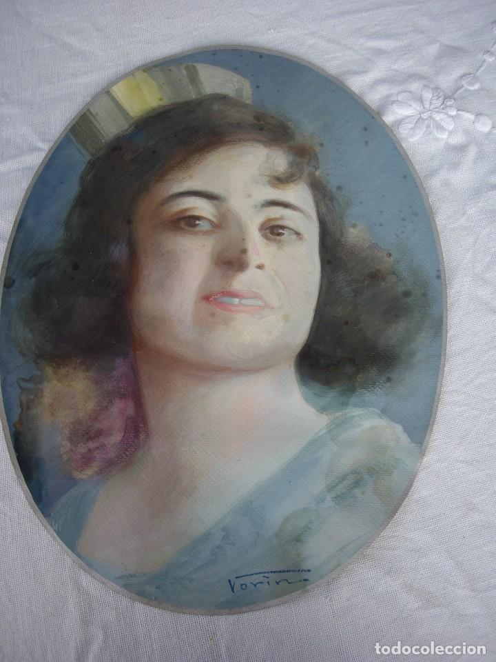 PASTEL FINALES XIX -PRINCIPIOS XX,MODERNISTA FIRMADO VORIN (Arte - Pintura - Pintura al Óleo Moderna siglo XIX)