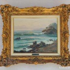 Arte: OLEO SOBRE LIENZO, MARINA, FIRMADO M. GRANADOS. MARCO DORADO. Lote 169338560