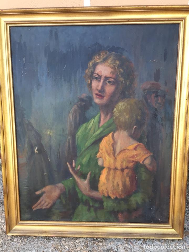 ÓLEO MUJER CON NIÑO PINTOR GUARDIOLA, BARCELONA. ANTIGUO (Arte - Pintura - Pintura al Óleo Antigua sin fecha definida)