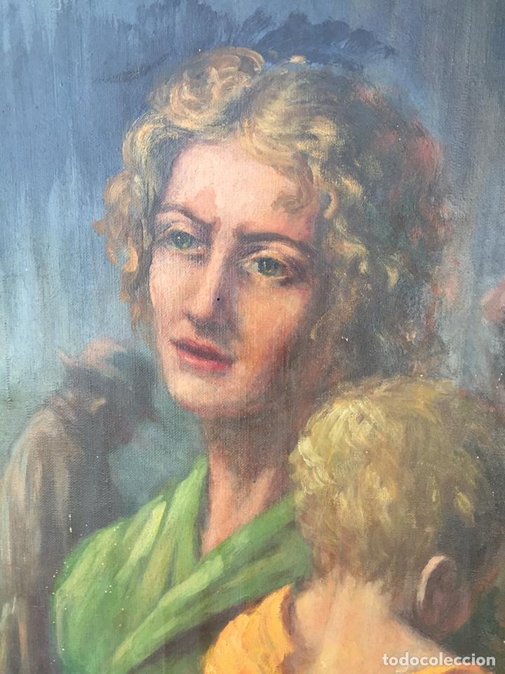 Arte: Óleo mujer con niño pintor Guardiola, Barcelona. Antiguo - Foto 2 - 169346033