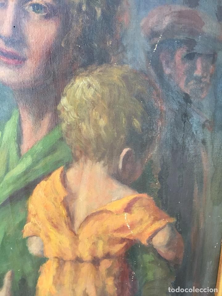 Arte: Óleo mujer con niño pintor Guardiola, Barcelona. Antiguo - Foto 3 - 169346033