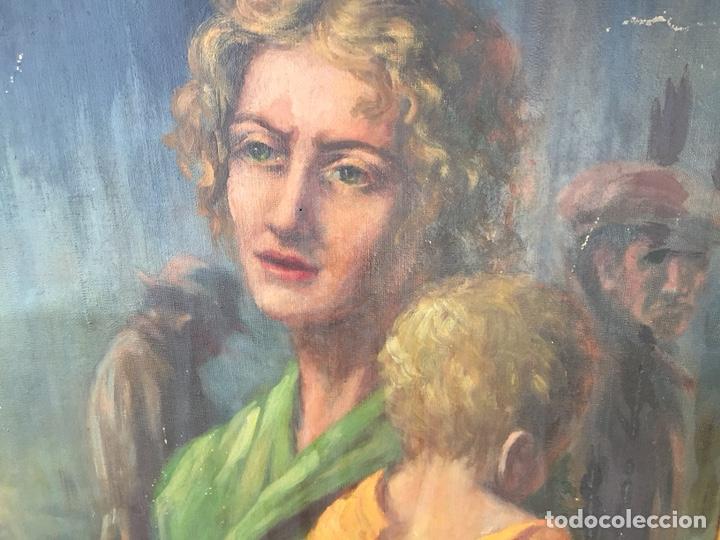 Arte: Óleo mujer con niño pintor Guardiola, Barcelona. Antiguo - Foto 7 - 169346033