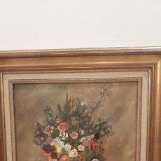 Arte: CUADRO OLEO CON MARCO FLORES JARRÓN DORADO ARTE. Lote 168347148
