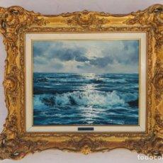 Arte: OLEO SOBRE LIENZO, MARINA, FIRMADO BLASCO, MARCO DORADO.. Lote 169393772