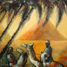 Arte: FIRMADO MERCEDES MORRAL. OLEO SOBRE TELA. PAISAJE CON PERSONAJES. Lote 169407988