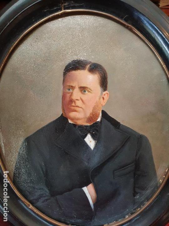 Arte: Retrato señor. Óleo sobre cartón. Siglo XIX. - Foto 2 - 169415232