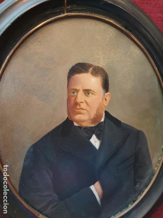 Arte: Retrato señor. Óleo sobre cartón. Siglo XIX. - Foto 4 - 169415232