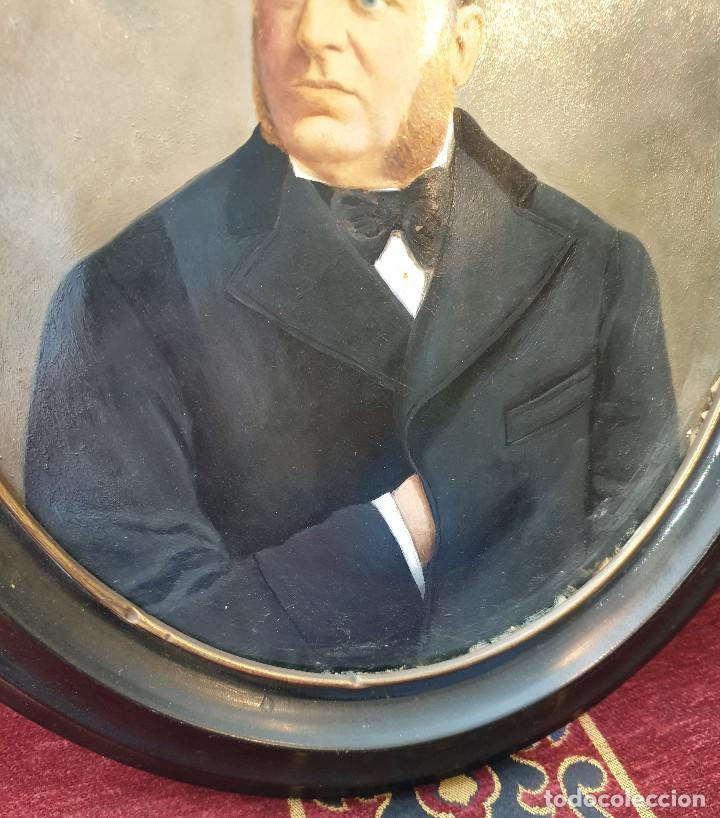 Arte: Retrato señor. Óleo sobre cartón. Siglo XIX. - Foto 5 - 169415232