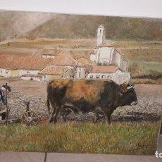 Arte: CUADRO PINTURA ÓLEO LIENZO PUEBLO BUEY TRILLO ARTE. Lote 169470312