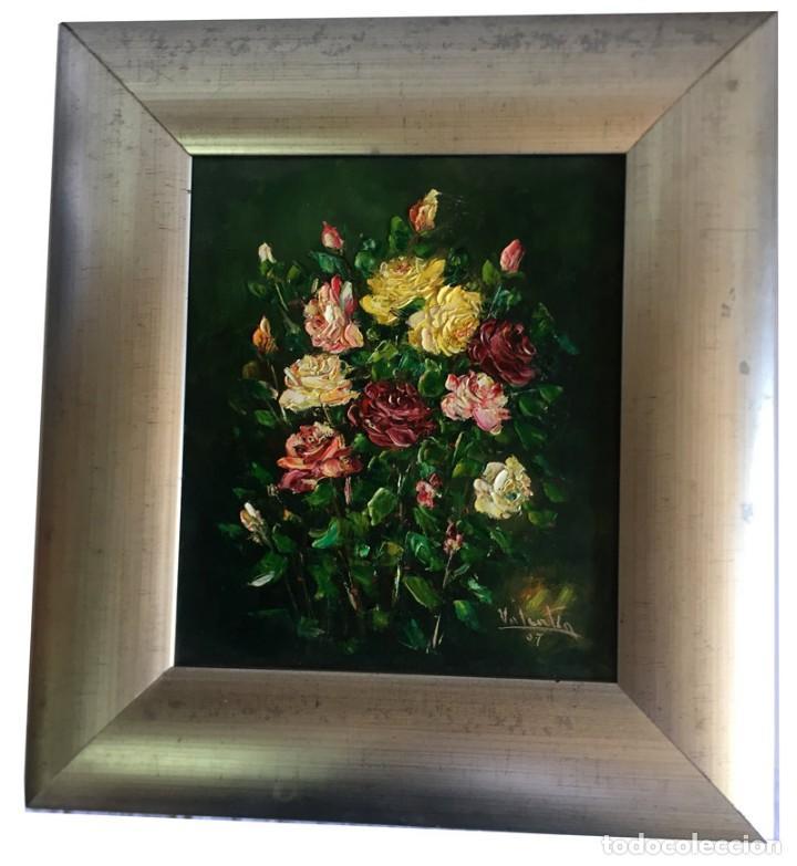 CUADRO OLEO SOBRE TABLET FIRMA VALENTIN BODEGON DE FLORES (Arte - Pintura - Pintura al Óleo Contemporánea )