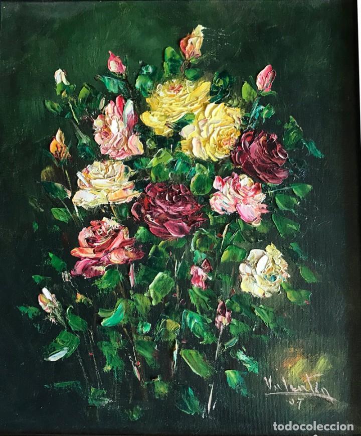 Arte: CUADRO OLEO SOBRE TABLET FIRMA VALENTIN BODEGON DE FLORES - Foto 2 - 169473892
