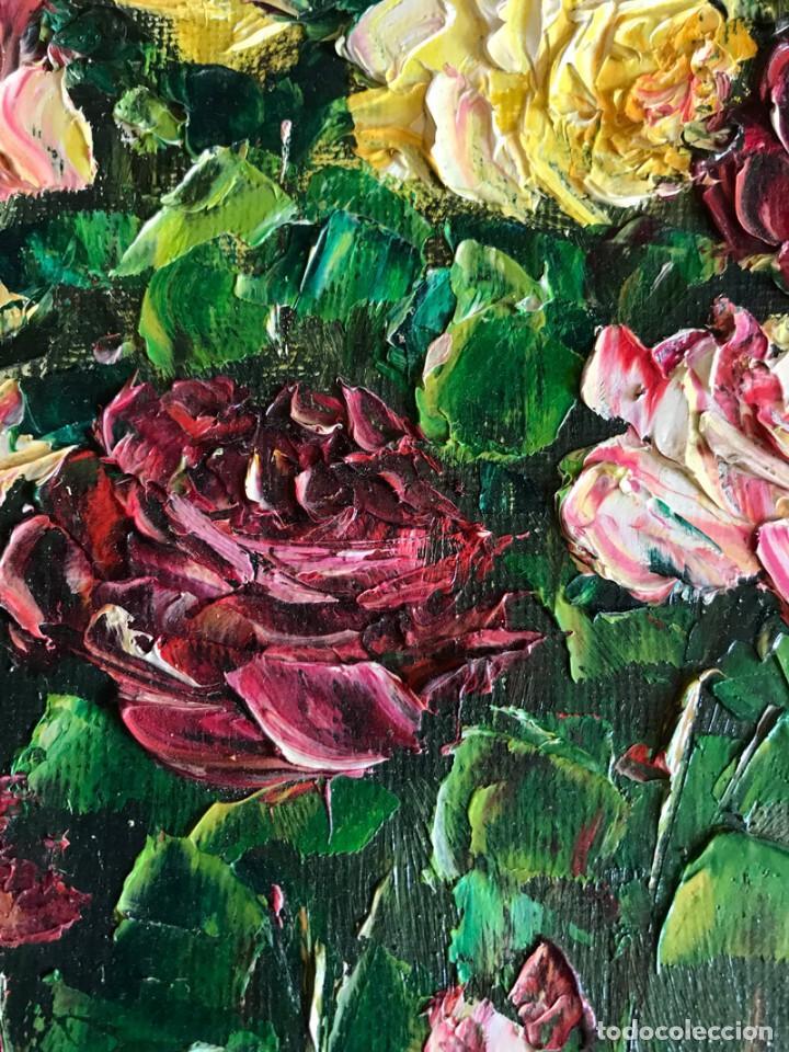 Arte: CUADRO OLEO SOBRE TABLET FIRMA VALENTIN BODEGON DE FLORES - Foto 4 - 169473892