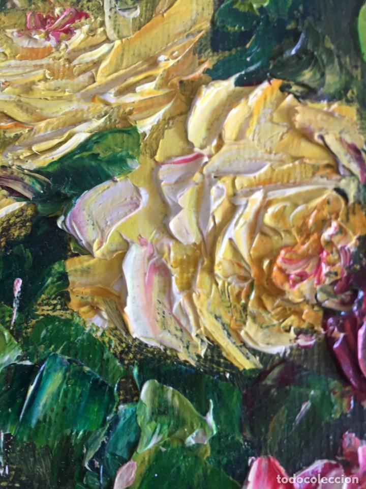 Arte: CUADRO OLEO SOBRE TABLET FIRMA VALENTIN BODEGON DE FLORES - Foto 6 - 169473892