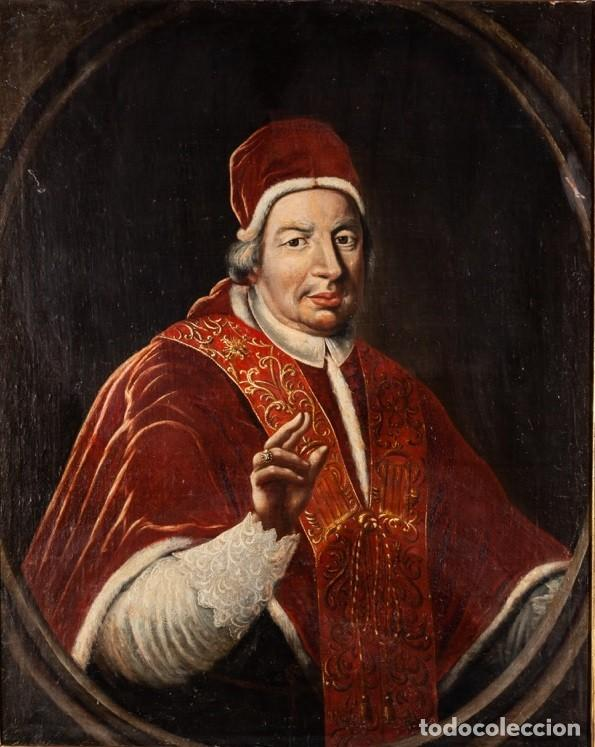 Arte: Escuela Italiana. Siglo XVIII. Retrato de Papa Benedito XIV. Oleo sobre lienzo - Foto 2 - 169556752