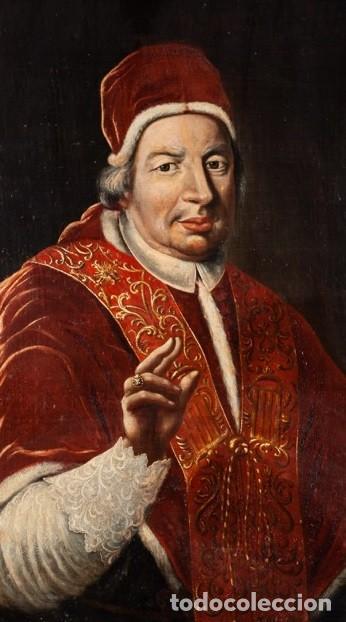 Arte: Escuela Italiana. Siglo XVIII. Retrato de Papa Benedito XIV. Oleo sobre lienzo - Foto 3 - 169556752